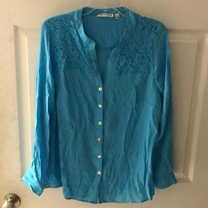 Turquoise Lace Shoulder Top